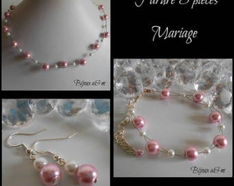 Set of 3 wedding pieces twist of white and old pink beads