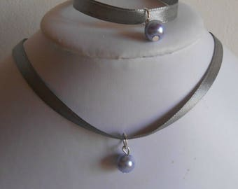 Adult/child gray satin ribbon and lavender pendant wedding set