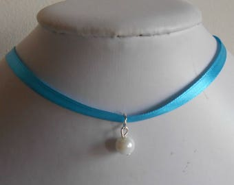 Adult/child blue satin ribbon and white pendant wedding necklace