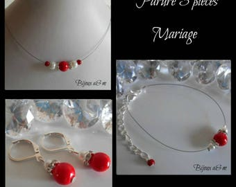 Set of 3 wedding pieces rhinestone and white pearls and Red passion