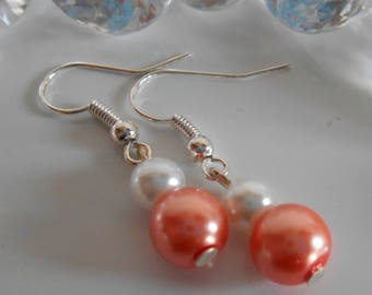 Duo of coral and white pearls wedding earrings