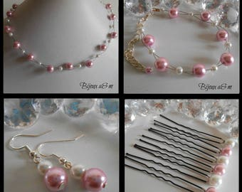Set of 4 wedding pieces twist of white and old pink beads