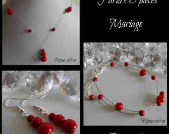 Set of 3 wedding pieces red passion pearls cascade