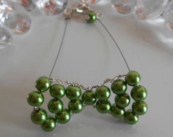 Wedding bow tie green bracelet