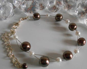 Wedding bracelet twist beads Brown and white