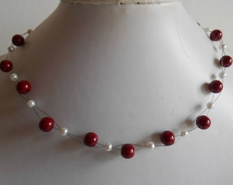 Bridal twist of Burgundy and white pearls