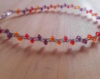 Trendy bracelet orange seed beads