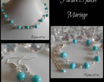 Set of 3 wedding pieces twist of white and turquoise beads