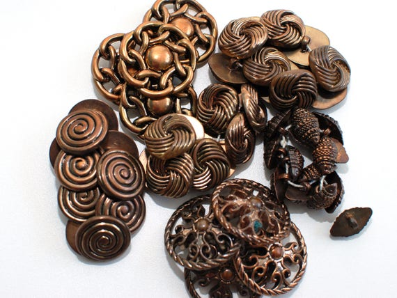 Set of 6 pcs with shanks Solid Metal Vintage metal buttons Svenska Amerika Linien bronze or copper color tone