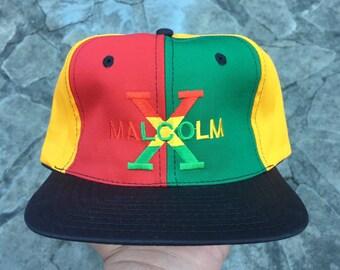 90f062686ec3a Vtg Malcolm X Pinwheel Rasta Snapback Hat Cap Deadstock Hip Hop Cross  Colours