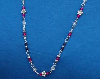 Handmade Necklace, Flower Jewellery, Bead Chain, Long Necklace, Pinks, Purples, Glass Beads.