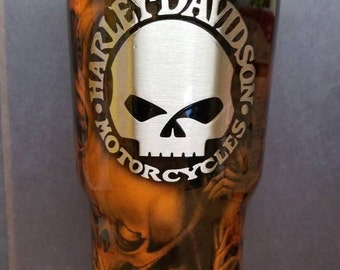 Personalized Hydrographic Biker Hogg Steel Tumbler  30 oz