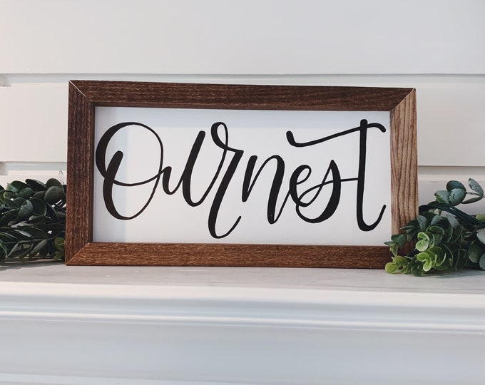 Featured listing image: Our Nest Wall Sign | Wall Decor | Rustic Farmhouse | Calligraphy Quote | Handmade Wall Art | Framed Wall Art | Hand Lettered | Stained Wood