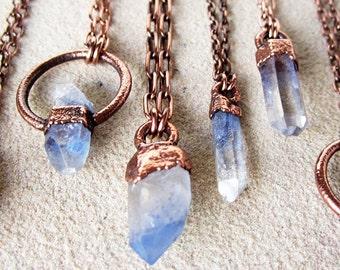Dumortierite Quartz Necklace | Blue Quartz Crystal Necklace | Pendant | Copper | Natural | Terminated | Included Quartz | Inclusion Quartz