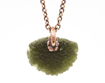Large Moldavite Necklace | Tektite Necklace | Moldavite Pendant | Natural Raw Moldavite | Electroformed | Crystal Necklace | Copper Chain