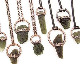 Moldavite Necklace | Tektite Necklace | Moldavite Pendant | Raw Moldavite | Electroformed | Green | Crystal Necklace | Copper | Copper Chain