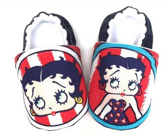 Betty Boop Baby Shoes, Soft Sole Baby Shoes, Betty Boop, Girl Baby Shoes, Red white and blue baby shoes, Baby Booties, Betty Boop Birthday