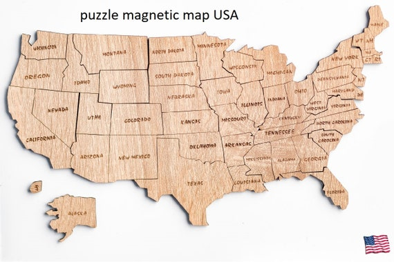 Usa United States Of America Laser Cut Magnetic Puzzle 50 Etsy