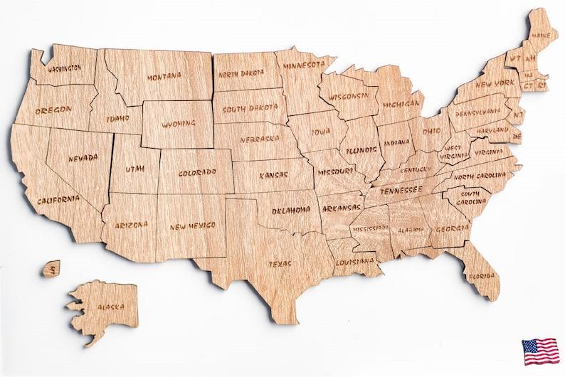 usa kaart houten kaart puzzel van de vs houten kaart staat | etsy
