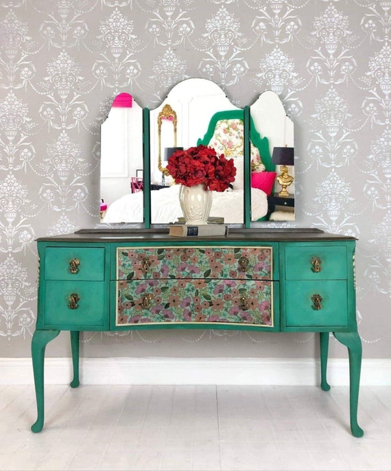Upcycled Painted Vintage Furniture Makeup Vanity With Mirror In Tampa Florida Blanket Wrapped Shipping Included
