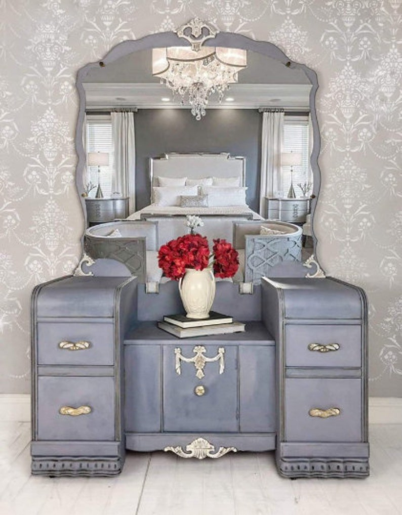 Vanity Table With Vintage Mirror Upcycled Painted Furniture In French Country Farmhouse Style In Tampa Florida