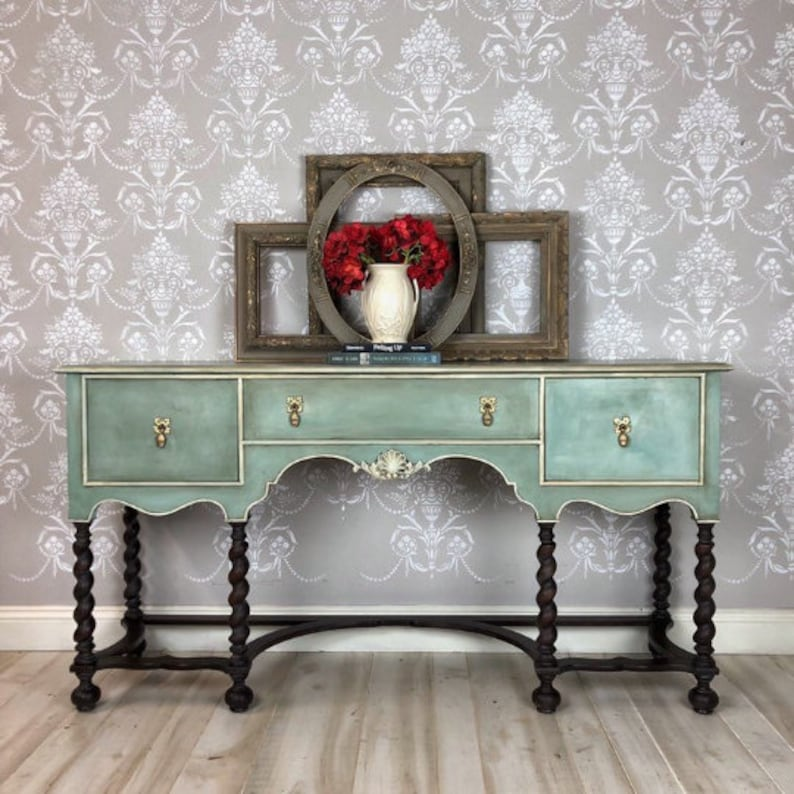 Painted Upcycled Farmhouse Sideboard Furniture In Blue Located In Tampa Florida
