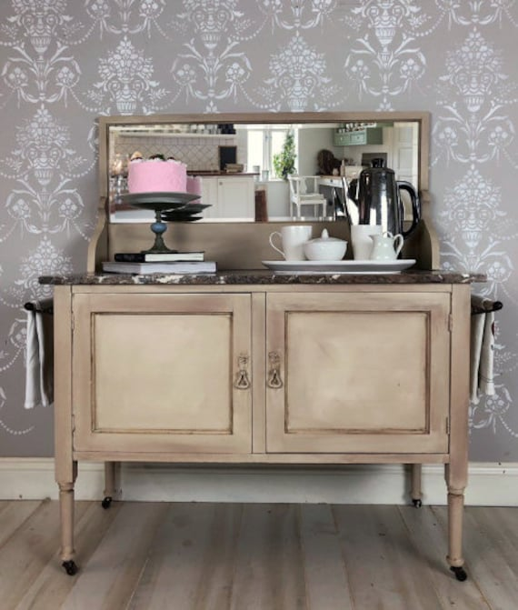 Painted Upcycled Furniture Antique Vintage Kitchen Coffee Bar With Stone Surface Top Shipping Is Included