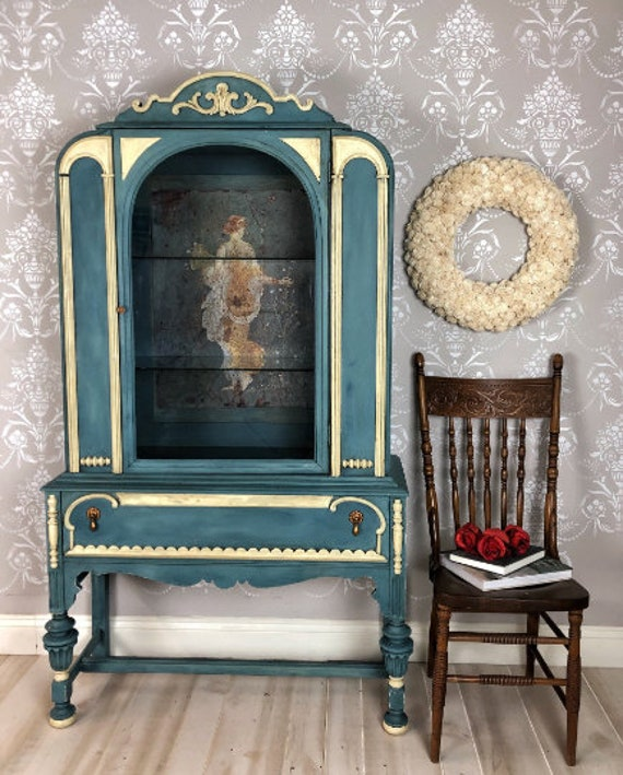 Painted Blue Upcycled Shabby Chic Furniture Vintage Antique China Display Cabinet Located Tampa Florida Blanket Wrapped Shipping Included