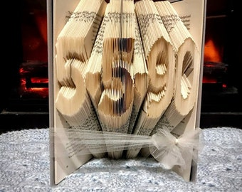 First Anniversary Gift - Paper Anniversary Gift - Anniversary Date Folded Book - Wedding Date Gift - Valentines Gift - Unique - book lover