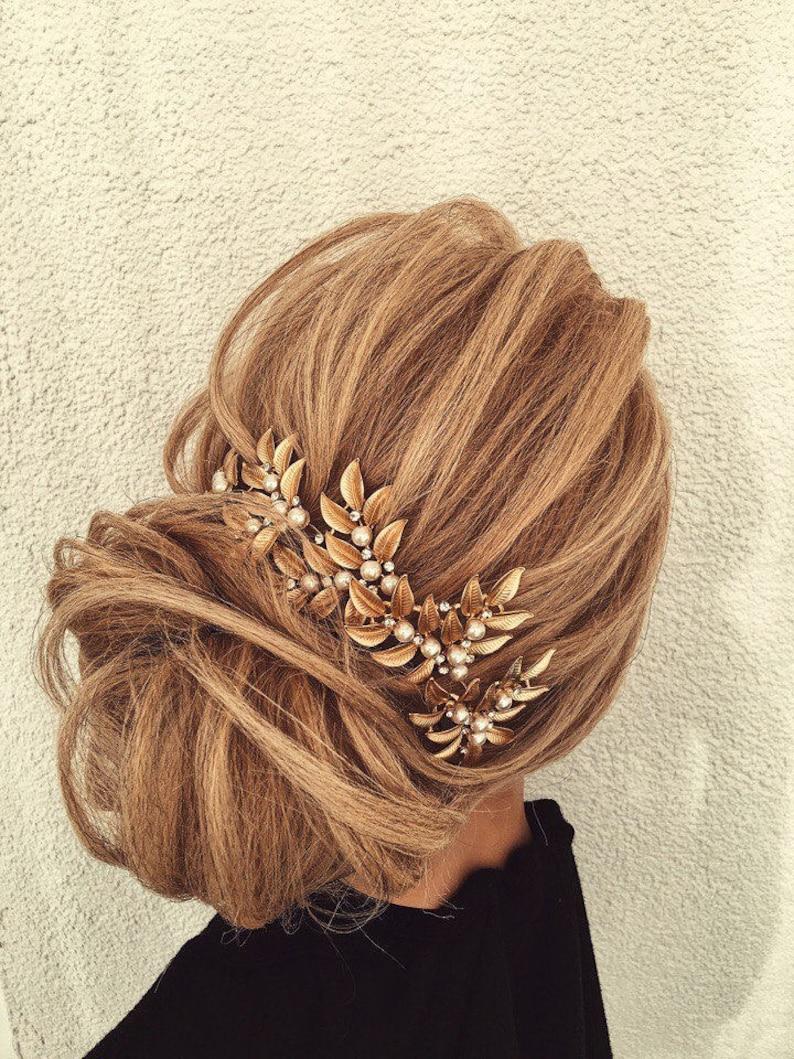 Gold Leaf Hair CombGold Leaf Hair AccessoryGold Leaf Bridal Hair CombWedding hair CombRustic WoodlandBohemian Head PieceBoho Hairpiece