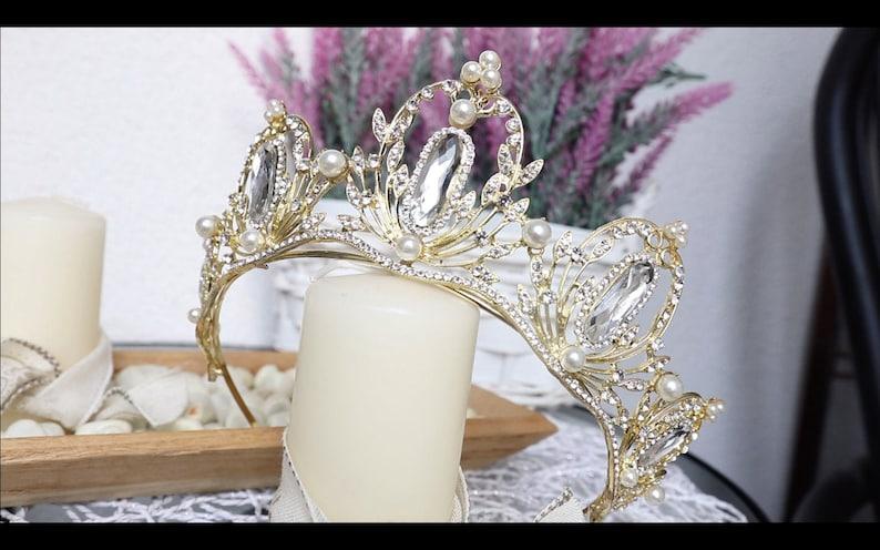 Baroque Gold Bridal CrownWedding Hair AccessoriesCrown for wedding Queen Pearl CrownPageant Royal CrownBridal HeadpiecePrincess crown