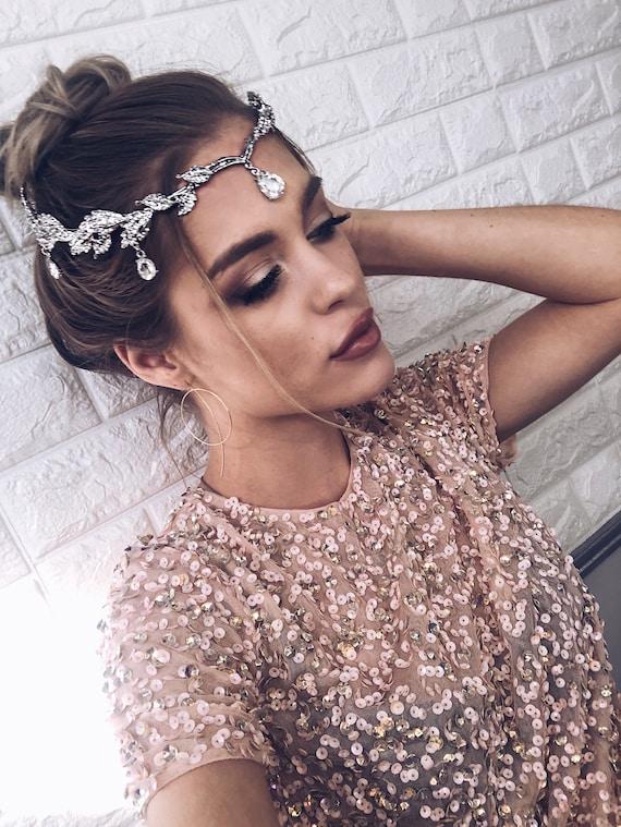 Indian Headpiece Crystal Hair Jewelry Silver Tikka Etsy