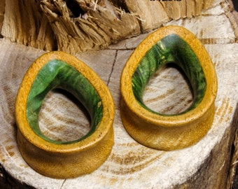 8801737fe Teardrop Ear plugs with green maple - gauges green -ear tunnels green - organic  plugs - dropshaped tunnels - natural plugs - wood gauges