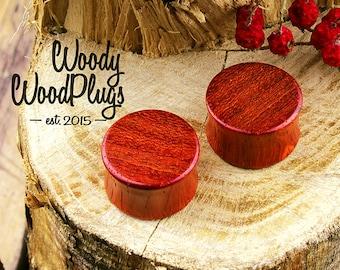"Padauk wood ear plugs - red wood organic red plugs  0g plugs - 00g plugs - 9/16"" plugs - 5/8"" plugs - 3/4"" plugs -  7/8"" plugs 1"" plugs"