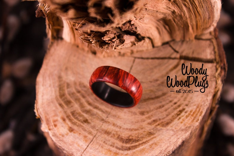 organic custom made red ring for boyfriend  girlfriend  couple Red stabilized wooden ring wood ring for women wood ring for men
