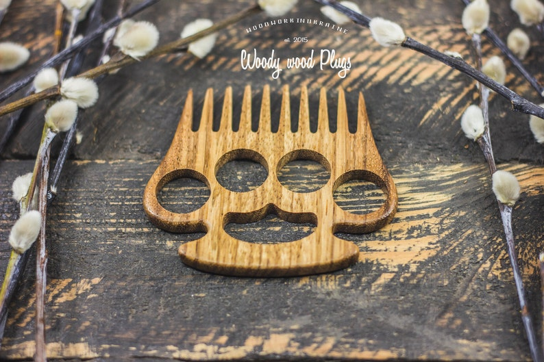 Zebrano Wood Brass Knuckle Beard Comb Wooden Gift For Man Hair Comb Barbershop Comb