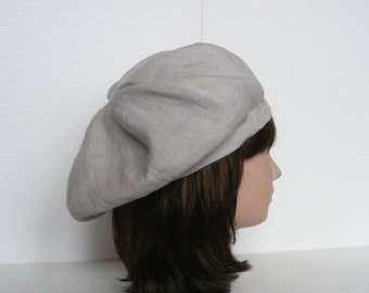 dbb2ce9290eb1 Retro Style Linen Beret. Women s Beret. Vintage Style Hat. Spring Beret.  Summer Beret
