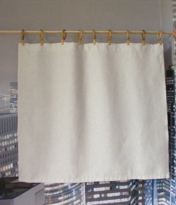 Ivory Linen Cafe Curtains or Valance / Linen Valance / Kitchen Curtains for  Foyer, Bathroom, Kitchen, Bedroom, Living room, Dining room.