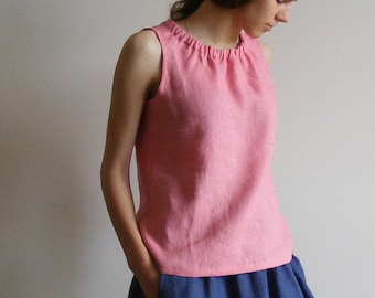 Linen Sleeveless Top in Vintage Coral with gathered neckline
