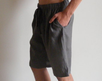 Mens Linen Long Pajama Home Shorts Soft 100% Linen with 2 side pockets 9JJQRL4R8g