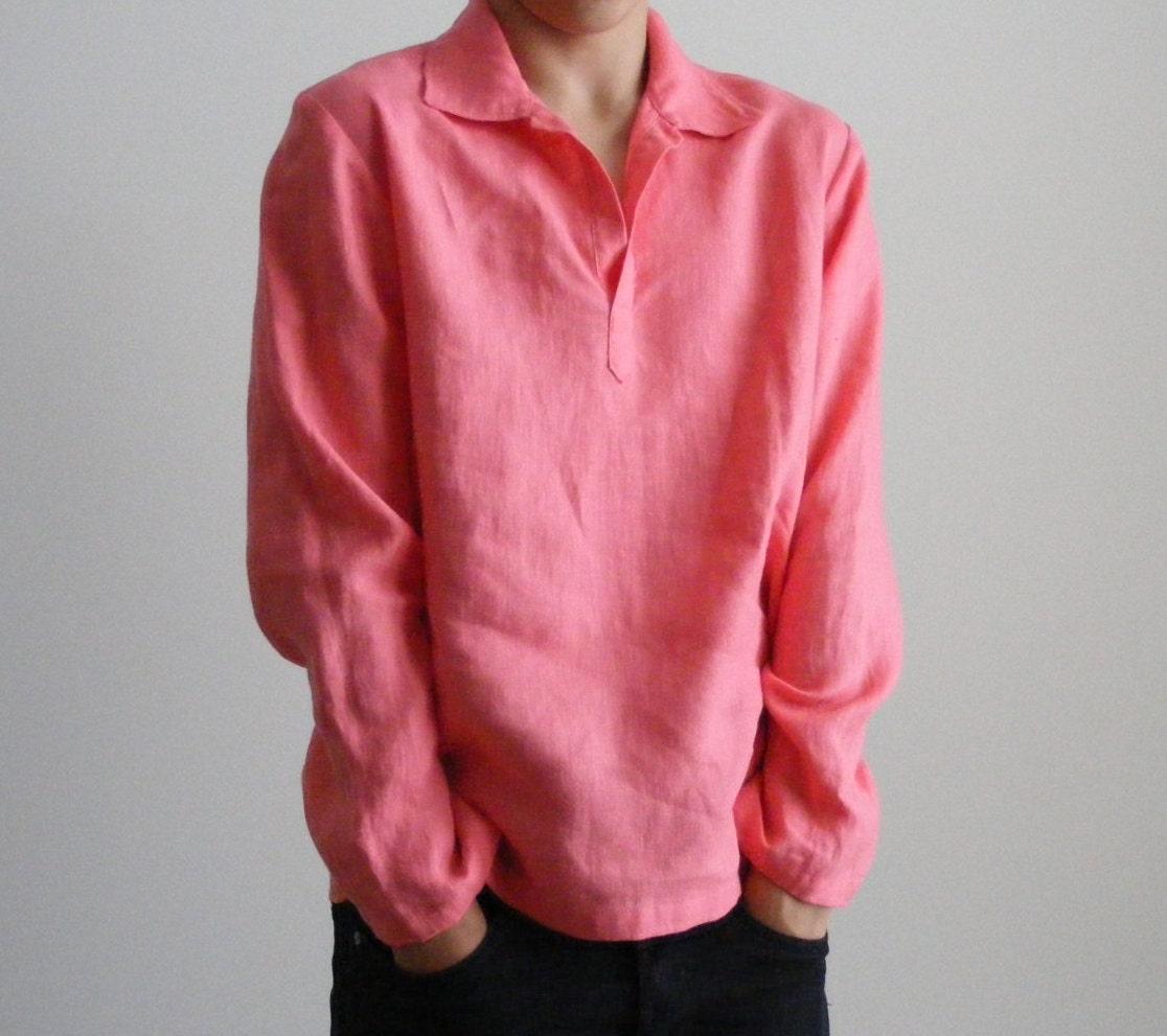Mens Linen Shirt In Coral Pinkmexican Wedding Linen Beach Etsy