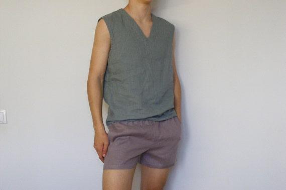Linen Easy Shorts. Simply Mens Linen Shorts, Beach Linen Shorts, Linen 3,5-Inch Shorts, Summer Linen Shorts, Elastic-Waist Relaxed Shorts