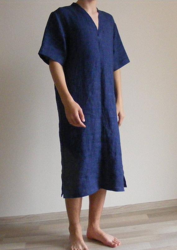 Mens Linen tunic Nightshirt   Lounge Wear   Flax Night Shirt    8531ca1ba