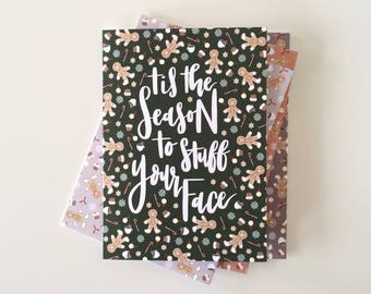 Tis the season funny Christmas cards. Holiday cards. Pack of 4 Christmas cards.