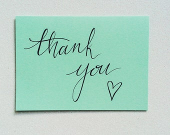 Thank you greetings card with heart element