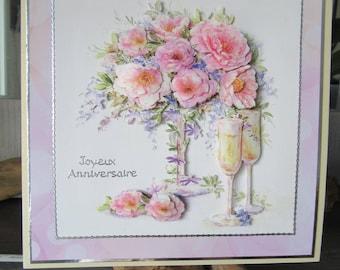 Happy birthday handmade card. Woman birthday card.