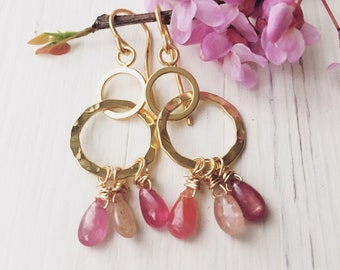 Handcrafted 14K yellow gold filled pink tourmaline earrings