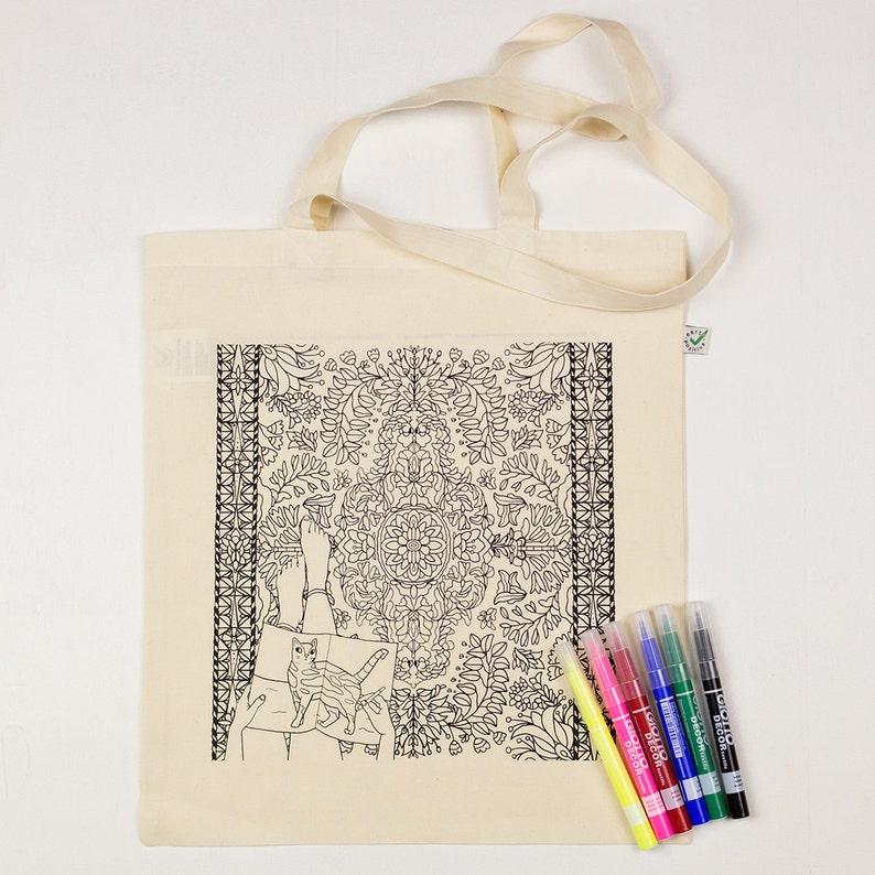 b23a06c60 Colorear ilustración de bolsa gato y alfombras de lona | Etsy