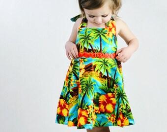 Girls Tropical Hawaiian Dress, Girls Summer Dress, Girls Hawaiian Dress, Toddler Hawaiian Dress, Hawaiian Dress