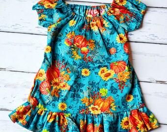 Girls Glitter Pumpkin Patch Fall Dress, Girls Fall Dress, Toddler Girls Pumpkin Dress